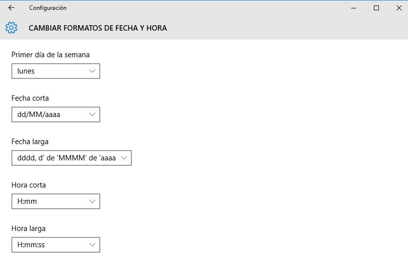 cambiar formato de fecha y hora en Windows 10