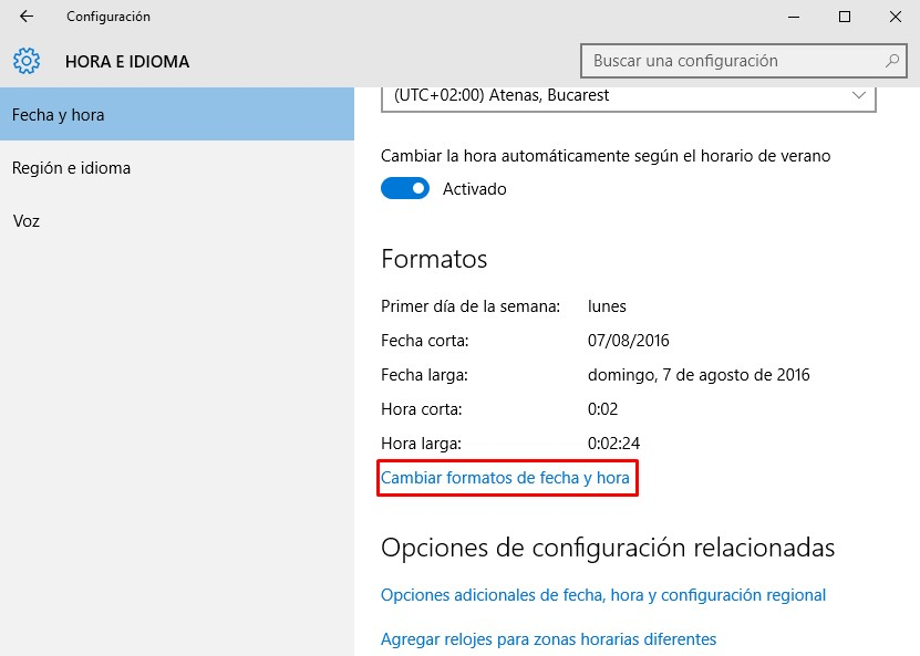 cambiar formato de hora en Windows 10