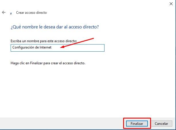 crear acceso directo a configuración de windows