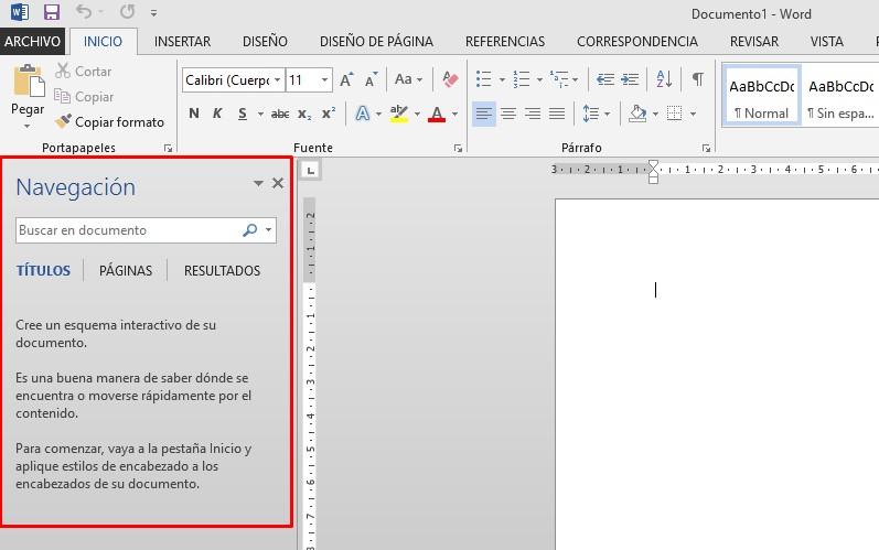mostral panel de navegación en Word