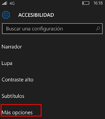 reducir tamaño de letra en windows mobile 10
