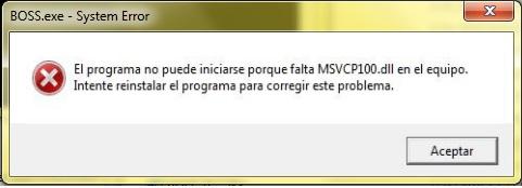 solucion error msvcp dll