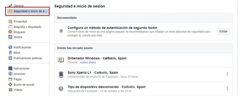Ver sesiones activas en Facebook