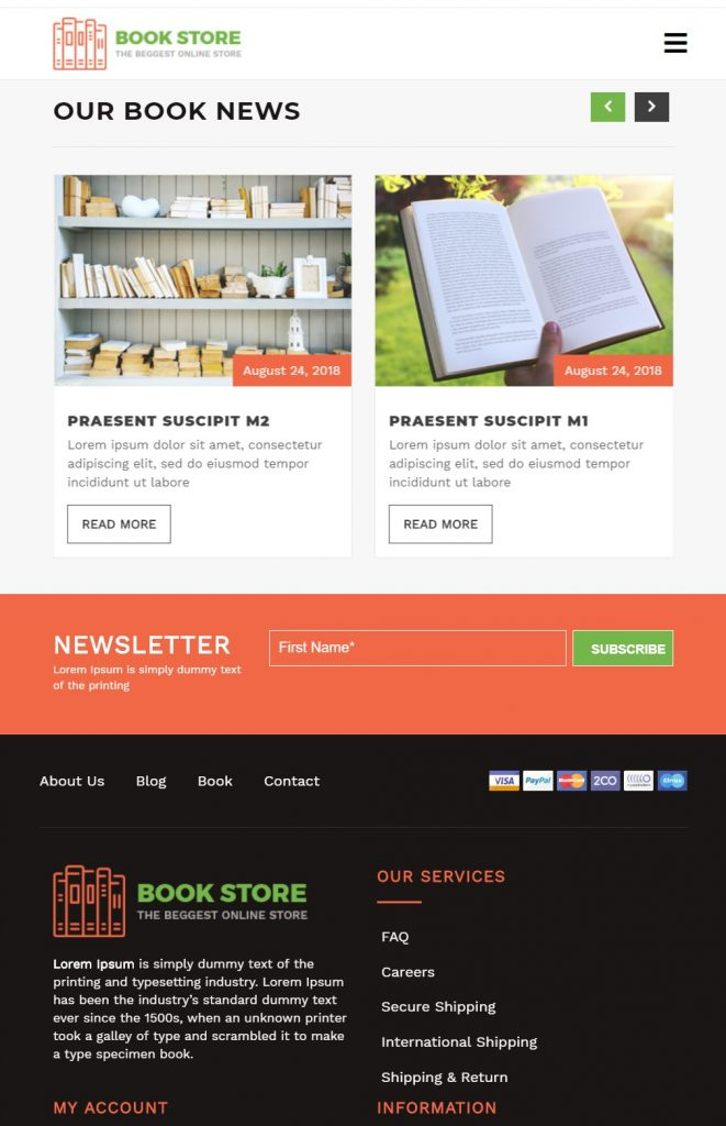 VW Book Store : Tema para tiendas de Libros