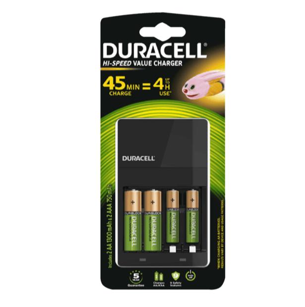 Cargador de Pilas Duracell CEF14 (Incluye 2 pilas AA y 2 pilas AAA)